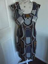 Cue Brown Grey Office Business 100% Silk Dress Pinafore 10 Made in Australia