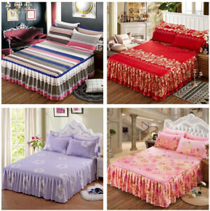 3Pcs/Set Bed Skirt Pillowcase Dust Ruffle Bedspread Bedding Twin Full Queen King