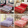 3Pcs/Set Bed Skirt Pillowcase Dust Ruffle Bedspread Bedding Twin Full Queen King