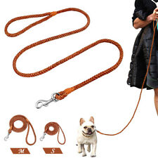 Brown 4ft Braided Leather Dog Leads Pet Walking Leash Rolled Rope Small Medium