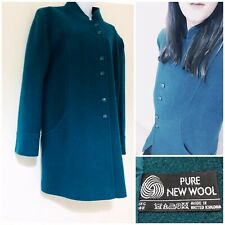 Wool Coat Size 18 100% Wool Smart Warm Work Elegant Button Tweed Arty Green