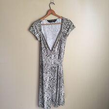Norma Kamali Black Snakeskin Wrap Dress Size M