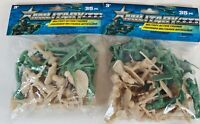 """Lot of 2 New Military Plastic 35 Pcs. Toy Soldiers Army Men Green 1.75"""" Figures"""