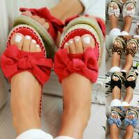 Women Female Slip On Sandals Bow Flat Mule Summer Sliders Espadrille Shoes Lady