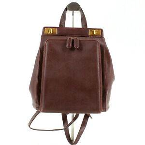 Gucci Vintage 90's All Leather Rucksack Backpack in Burgundy Brown Made in Italy