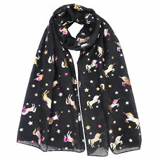 FOIL SCARF SHAWL WRAP WITH MULTI-COLOURED UNICORN FOR LADIES WOMEN