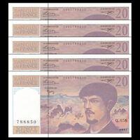 Lot 5 PCS, France 20 Francs, 1997, P-151i, banknote,Original, UNC