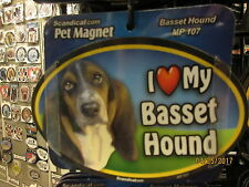 I Love My Basset Hound 6 inch oval magnet for car or anything metal New