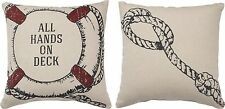 "NEW!~14"" Pillow~""ALL HANDS ON DECK""~Shabby Cottage Chic~Beach House/Nautical"