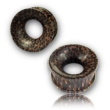 """PAIR OF CONCAVE 000G 7/16"""" INCH PALM WOOD TUNNELS ORGANIC PLUGS"""