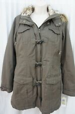 INC International Concepts Trench Coat Sz L Faded Brown Faux Fur Heavy Jacket