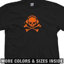 Skull and Phones T-Shirt - Cross Bones Crossbones MP3 Pirate -All Sizes & Colors