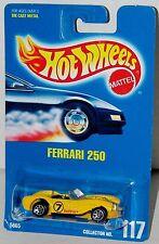 Hot Wheels Ferrari 250 - Yellow Base Sp7s Blue Card Collector #117 Malaysia 1995