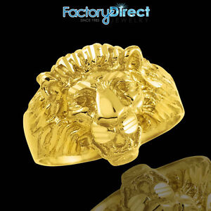 Men's Gold Lion Head Ring 10k 14k