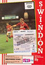 Football Programme+ Match Ticket>SWINDON TOWN v SHREWSBURY TOWN Oct 1989 FLC