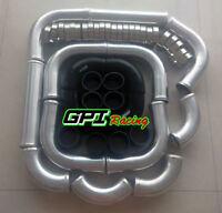 "3"" 76mm aluminum 12PCS universal Intercooler Turbo pipe & Black hose & T-Clamps"