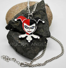 925 Silver plt Harley Quinn Face Pendant Necklace  Ladies Girls Gift Batman DC