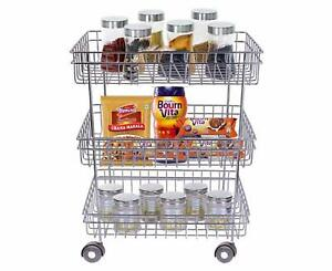 3 Tier Vegetable & Fruits Trolley Basket Organizer Storage Shelf Shelves Rack