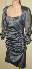 Womens Gorgeous Gunmetal Grey Ruched Dress - Bang - Size 8