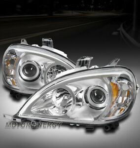 FOR 98-05 MERCEDES-BENZ ML-CLASS W163 CHROME PROJECTOR HEADLIGHT LEFT+RIGHT PAIR