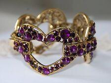 Purple Crystal Heart Cuff Bangle Bracelet / Gold-tone w Purple Crystals