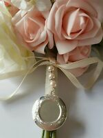 Wedding Bouquet Charm Round Silver Locket Pendant 3 pink pearls and Gift Bag