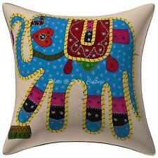 Indian Applique Elephant Kantha Patchwork Cotton Sofa Cushion Cover Pillowcase