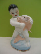 Old Rare Jingdezhen Chinese Porcelain Boy with Carp Fish Figurine Figure