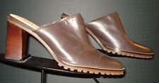 Women's UNISA Brown Leather Heeled Mules Size 9B UNWORN/MINT