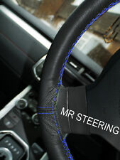 FOR PEUGEOT 207 06-12 TRUE LEATHER STEERING WHEEL COVER ROYAL BLUE DOUBLE STITCH