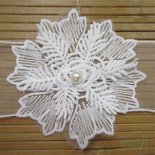 5pc 9cm Vintage Cotton Crochet Pearl Snowflake Lace Edge Trim Wedding Ribbon DIY