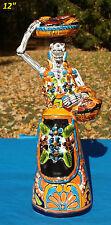 """Catrina Con Trenzas y Panes Talavera Statue 12"""" Hand Painted Ceramic Mexican"""