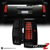 "2007-2014 Chevy Suburban Tahoe Yukon ""SINISTER BLACK"" LED Rear Tail Lights Lamps"