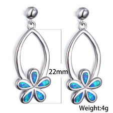 European flower Silver Filled blue Fire imitation Opal Ear Stud Earring Jewelry