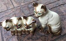 Vintage Mid Century Pair Siamese Cats Cermamic Figurines Japan - 3 Kittens & Mom