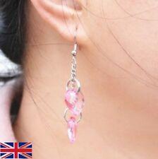 Women's Pink Crystal Heart Long Drop Earrings - Uk Free P&P