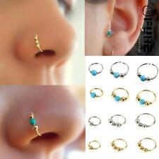 1x Stainless Steel Nose Ring Turquoise Nostril Hoop Nose Earrings Stud Piercing