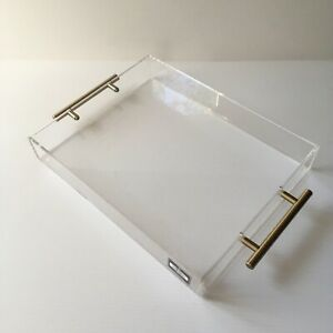 Isaac Jacobs Clear Acrylic Lucite Serving Tray  Decorative 11x14 NEW Brass