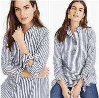 J.CREW Women's XXS Collared Tie-sleeve Popover Tunic Blue White Stripe Top
