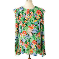 & Other Stories Size 38 UK 12 Multicoloured Floral Frill Blouse Top Long Sleeve