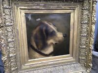 ANTIQUE OIL ON CANVAS MIXED BREED DOG PAINTING ORNATE FRAME ACORNS GREEK KEY