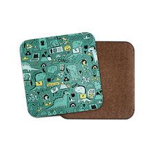 Gadget Dino Coaster - Dinosaur Office Kids Funny Joke Cartoon Green Gift #15646