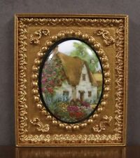 "FRAMED  FIRED  PORCELAIN  PICTURE ~ ""Cottage"" ~Dollhouse ~ 1:12 scale ~ Room Box"