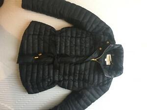 Michael Kors quilted coat jacket black zipped with golden logo embellishment xxs