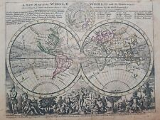 1732 Herman Moll Mapa Mundo A New Map of the Whole World with the Trade Winds