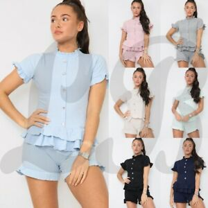 Ladies Women Fine Ribbed Short Sleeve Frill Button Shorts Set Co ord Loungewear