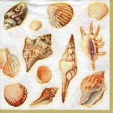 4x Designer PAPER NAPKINS for Decoupage SHELLS CREAM NAUTICAL SEA