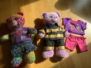 2x Build a Bear Workshop Bears (Frozen Anna) with Troll and Firefighter Clothes