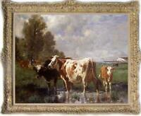 "Old Master-Art Antique Oil Painting animal Portrait cow on canvas 30""x40"""