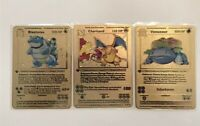Metal Pokemon Card Charizard, Blastoise, Venusaur. Gold Shadowless 1st ed